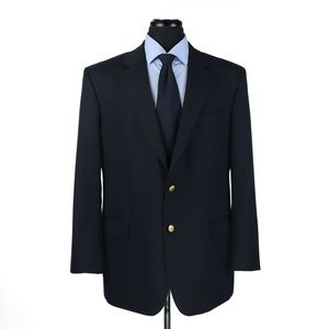 Brooks Brothers 100% Wool Blazer Navy Blue 44R